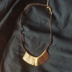 Gunmetal Necklace GOLD ON LEATHER CHOKER $168 NEW
